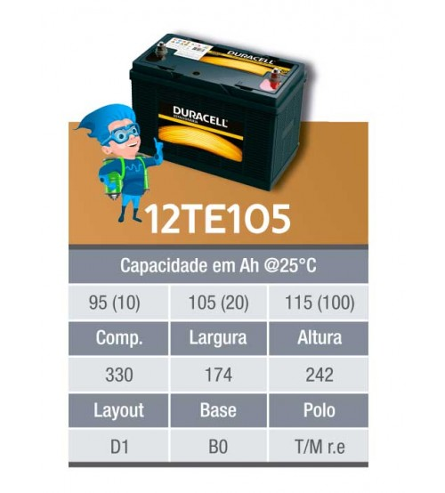 BATERIA ESTACIONARIA DURACELL 12v 105ah C20 / 115ah  C100 - 12TE105