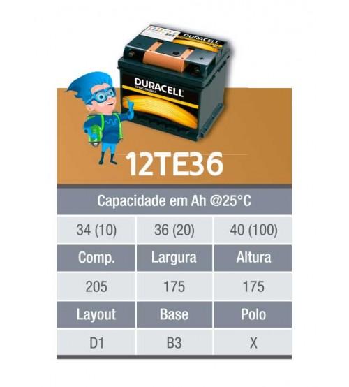 BATERIA ESTACIONARIA DURACELL 12v 36ah C20 / 40ah C100 - 12TE36