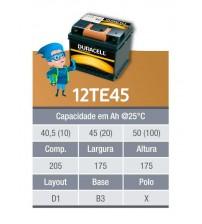 BATERIA ESTACIONARIA DURACELL 12v 45ah C20 / 50ah C100 - 12TE45